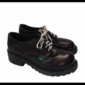 Kickers Shoes Size 6.5 Burgundy Lace Up Oxfords